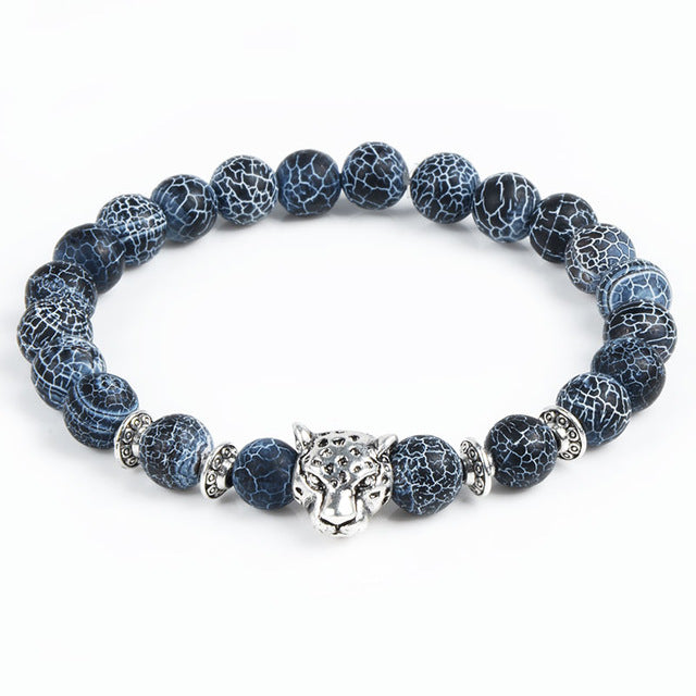 Owl Buddha Beads Bracelets For Men and Women with Leopard Tiger Eye Lion Head