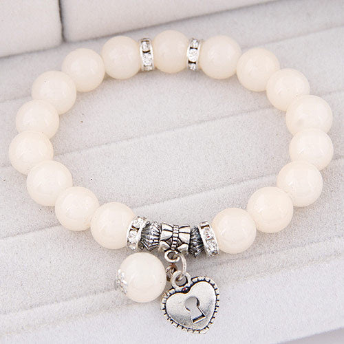 White beads bracelets for women