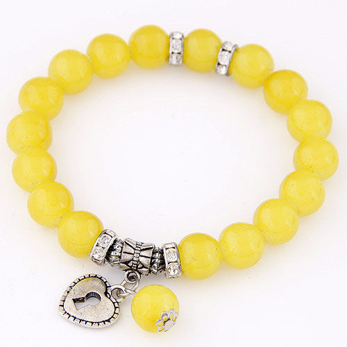 Yellow beads bracelets for women