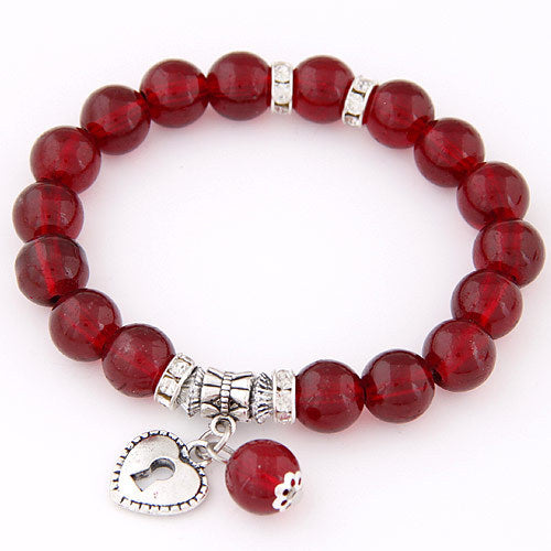 Dark red beads bracelets for women