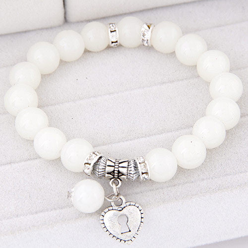 Cream color white beads bracelets for women