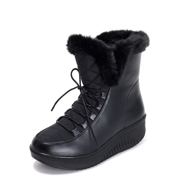 Round Toe Flat With Fur Ankle Winter Boots For Women