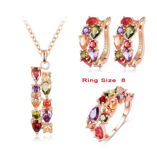 Gold Rose Color Flower Jewelry Set  With Multicolor Cubic Zircon Pendant/Earrings/Ring