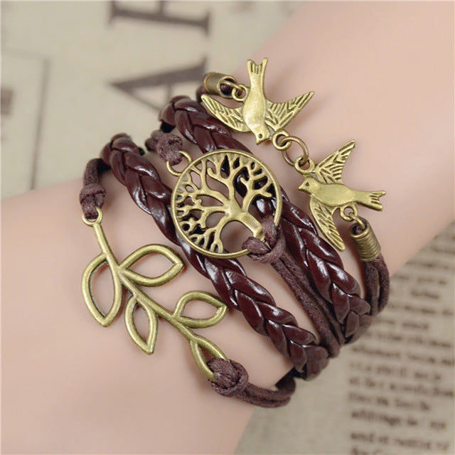 Brown leather bracelets for women