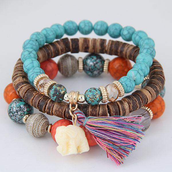 Sky blue beads bracelets for women