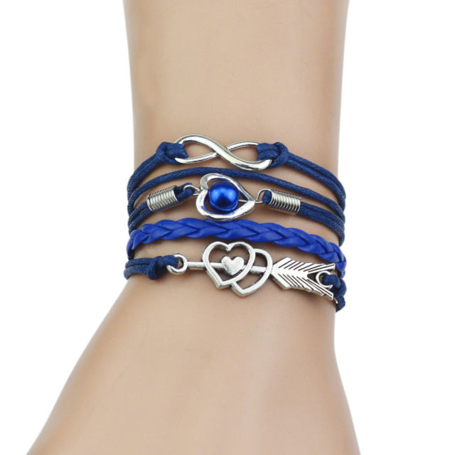 Blue leather bracelets for women