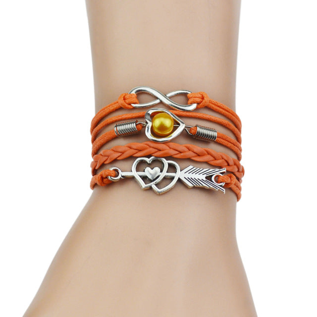 Orange leather bracelets for women