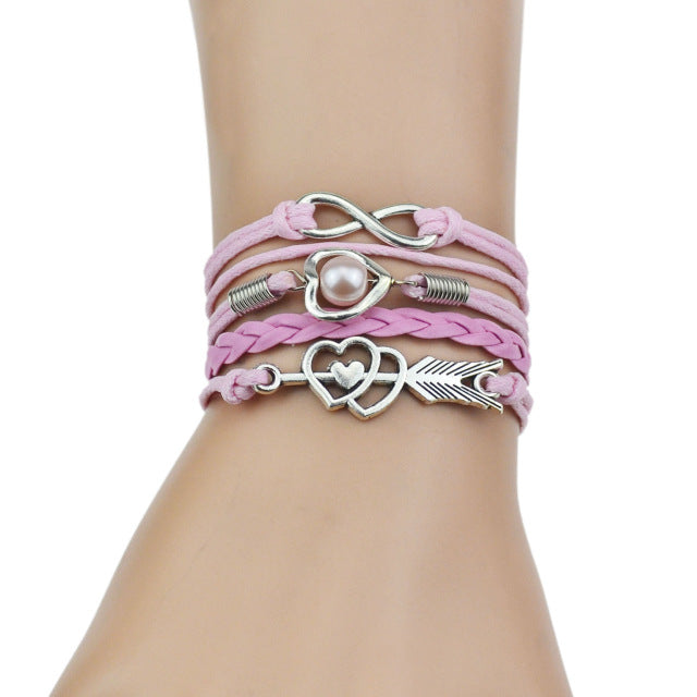 Pink leather bracelets for women