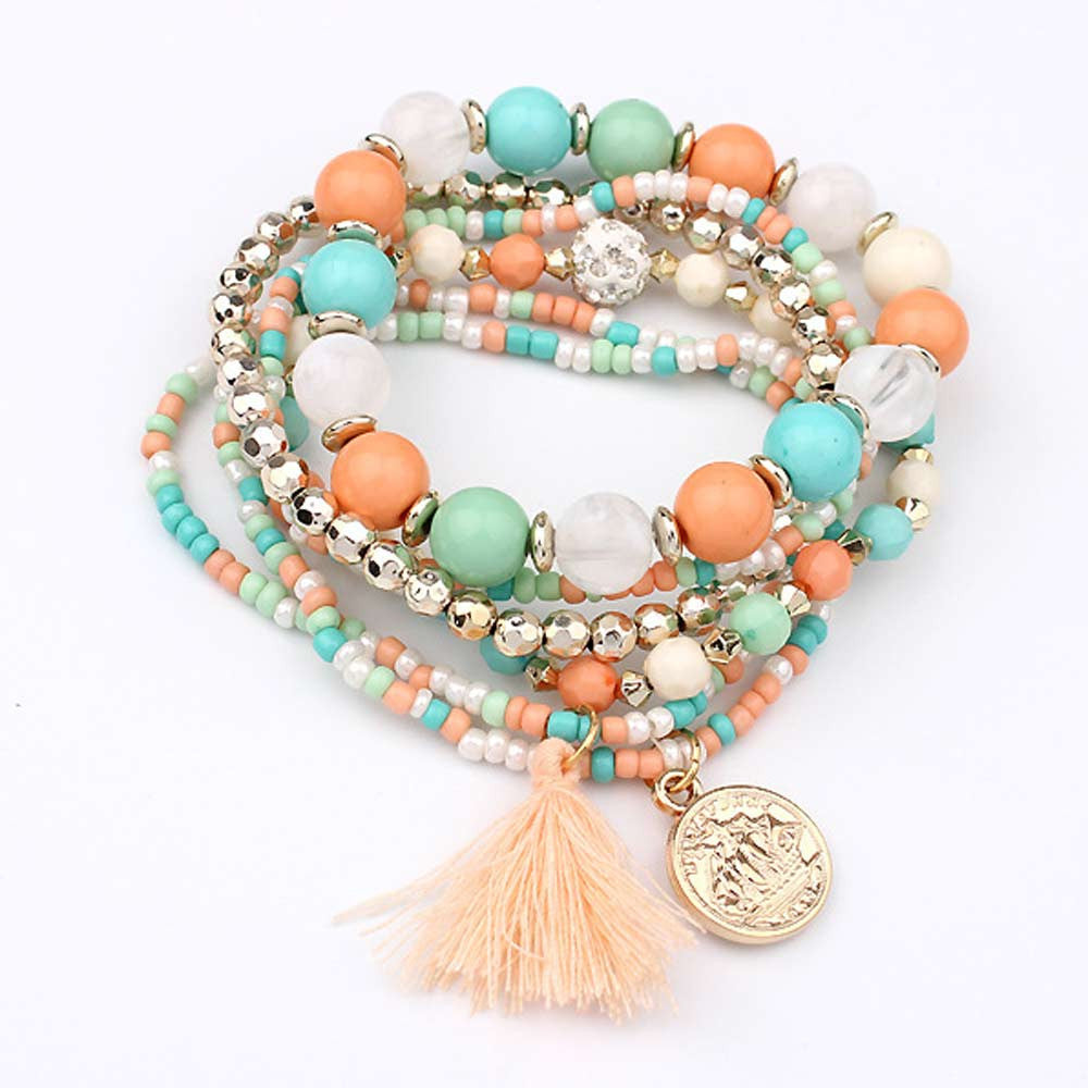 Pink and sky blue beads bracelets for women