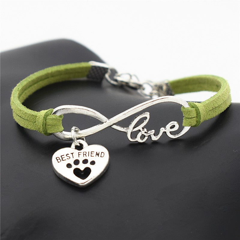 Green leather bracelets for women