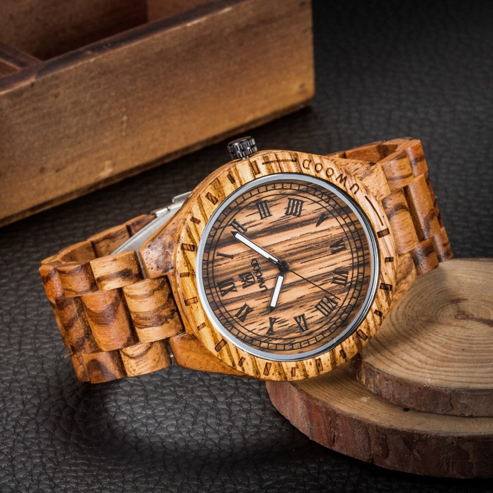 Mens Wooden Watch Men Dress Wooden Watches Natural Calendar Display Bangle Wooden Wrist Watch