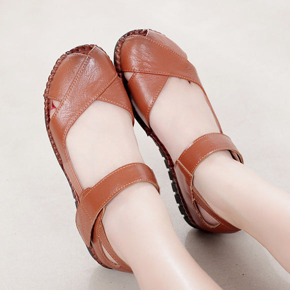 Genuine Leather Flat Womens Shoes Open Toe Sandals Comfortable Summer Shoes For Women