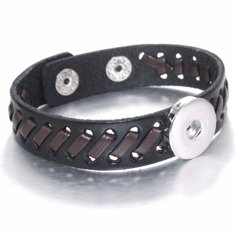 Black Snap Button Leather Bracelets For Women