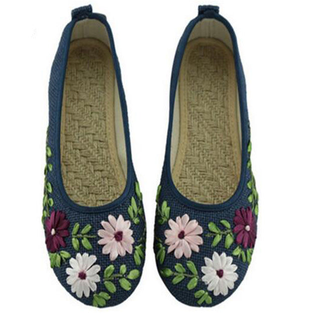Shoes For Women Flats Flower Slip Embroidered Fabric Linen Shoes