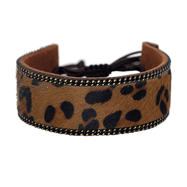 Brown Leopard Pattern Leather Bracelets for Women