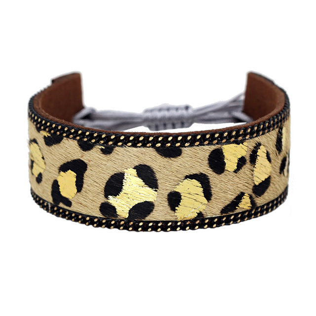 Yellow Leopard Pattern Leather Bracelets for Women