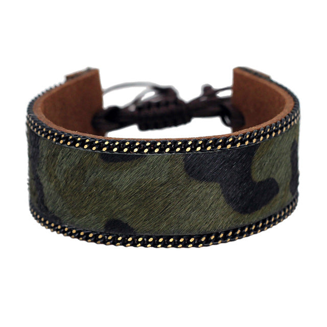 Black Leopard Pattern Leather Bracelets for Women
