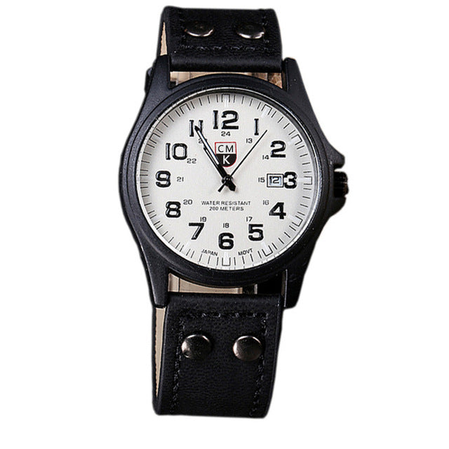 Quartz Military Wristwatch Leather Strap Mens Watches