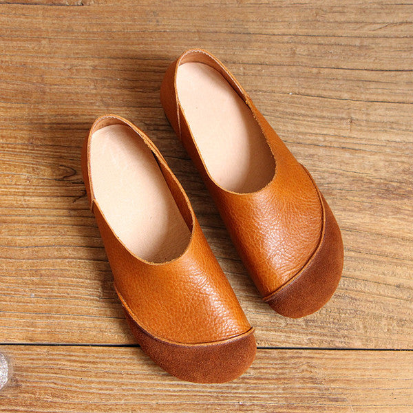 Flats Women Leather Shoes Casual Slip On Soft Loafers Spring Moccasins Handmade Shoes
