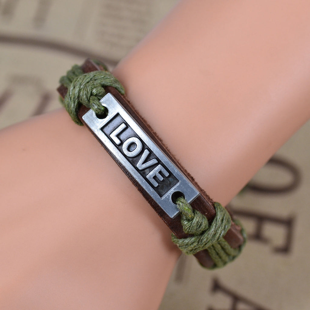 Green leather bracelets for women with love icon. Buy your favorite leather bracelets from Bomosi!