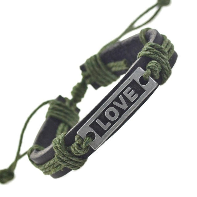 Green colored love leather bracelets for women
