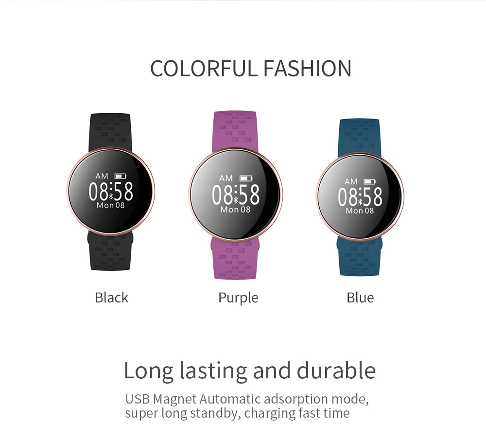 Fashion Smart Watch with Fitness Sleep Monitoring Waterproof Remote Camera GPS for IOS Android
