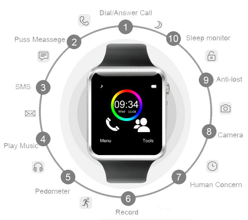 Senbono A1 Smartwatch For Android Smartphone Bluetooth Smart Watch Sport Pedometer with SIM Camera For Men Women