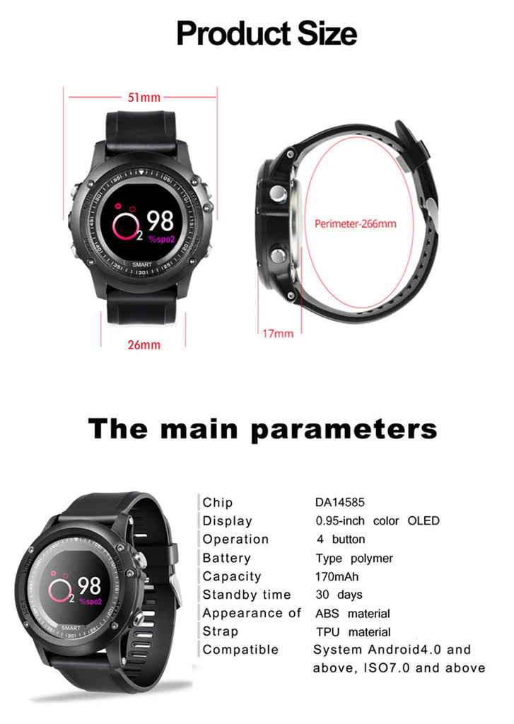 Men Sport Smart Watch Heart Rate Monitor Waterproof Call Reminder Push Message  Clock Bluetooth 4.0