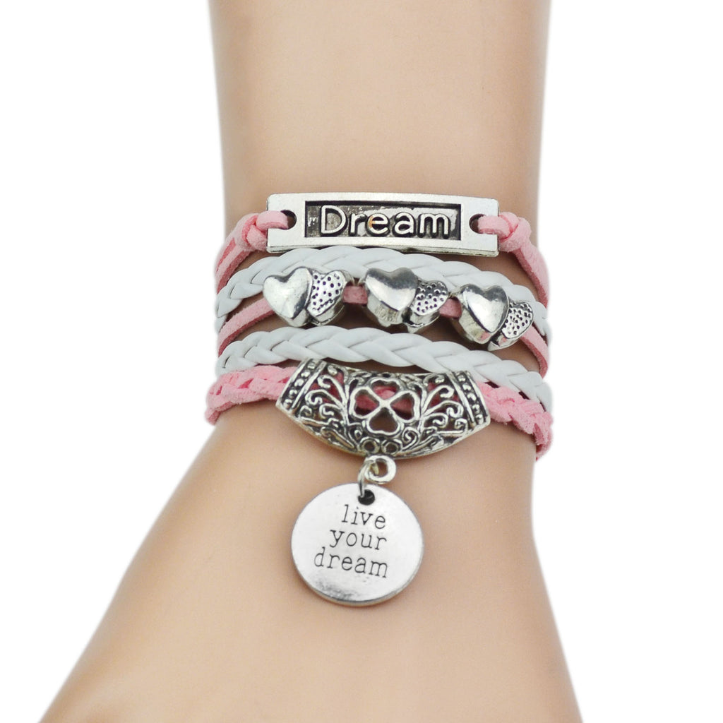 Pink leather bracelets for women with silver chain. Keep loving with beautiful leather bracelets added love chain