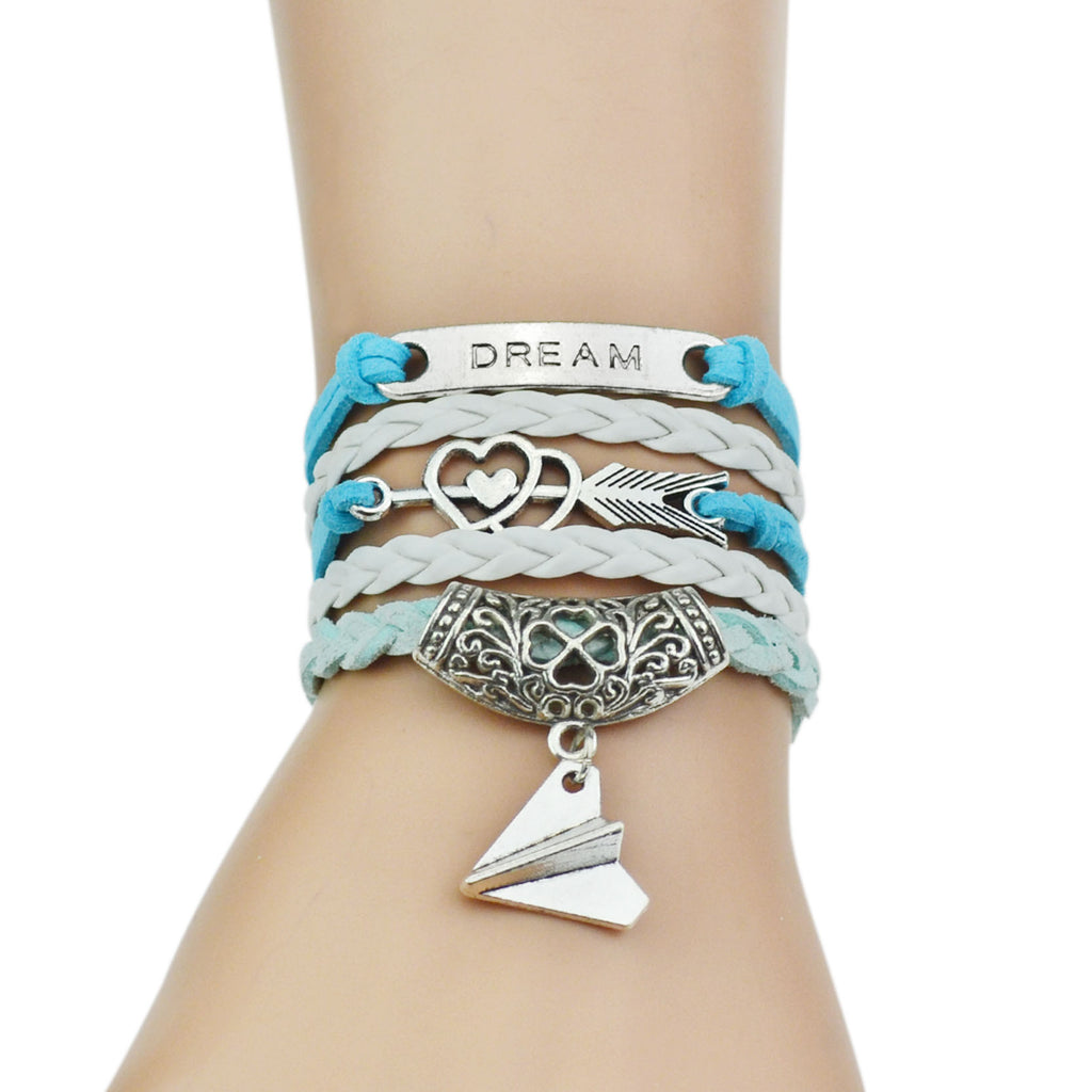 Sky blue colored leather bracelets for women with beautiful silver coated chain