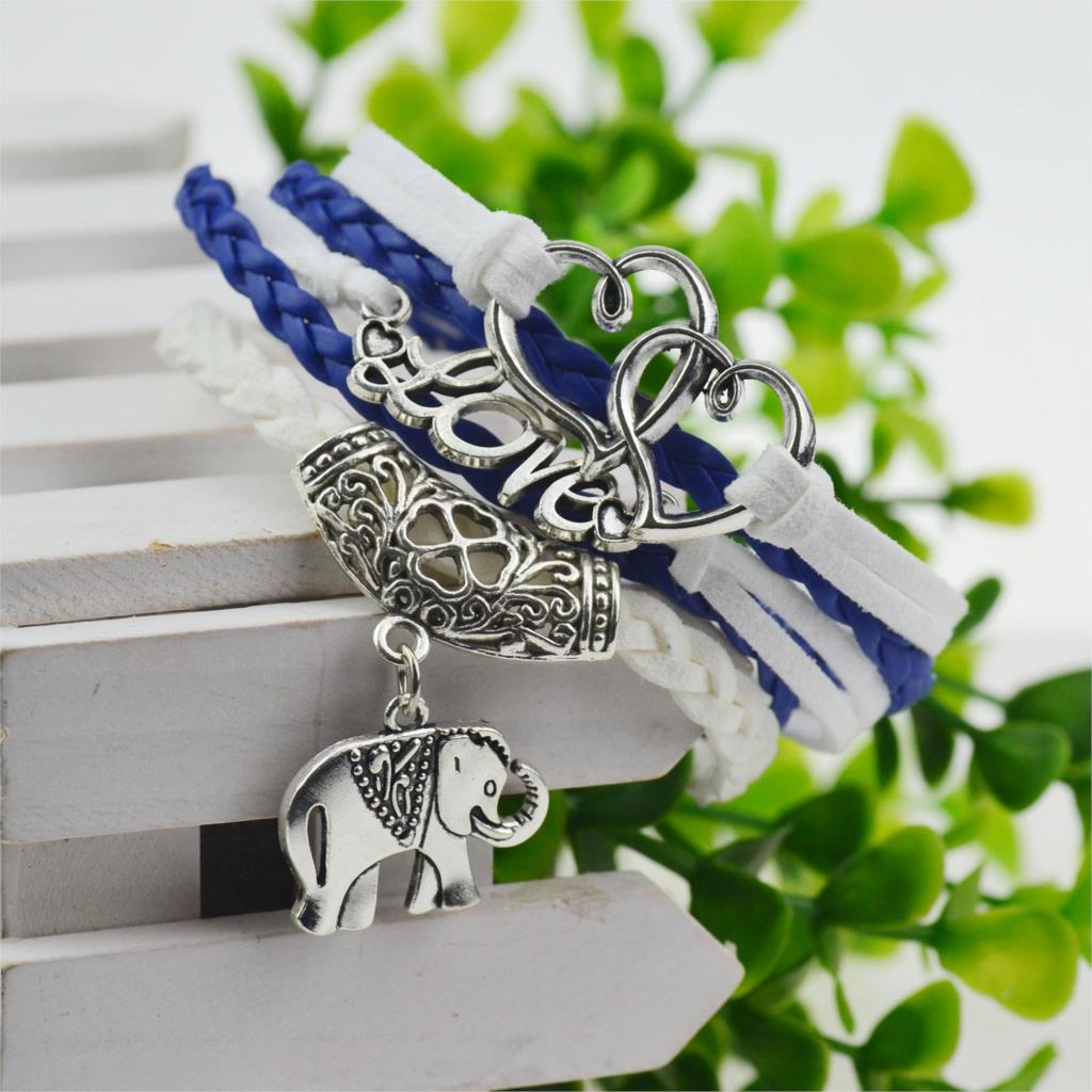 Buy leather bracelets for women in blue and white color with elephant chain