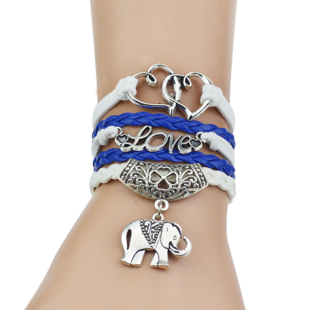 Leather bracelets for women in dark blue and white color with silver love chain