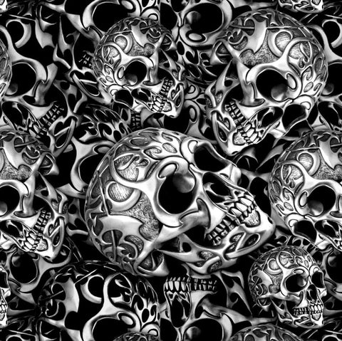 TRIBAL SKULLS HYDROGRAPHIC FILM BLACK AND CLEAR