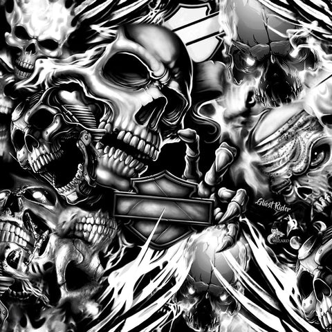 GHOST RIDER BIKER SKULLS HYDROGRAPHIC FILM BLACK AND CLEAR
