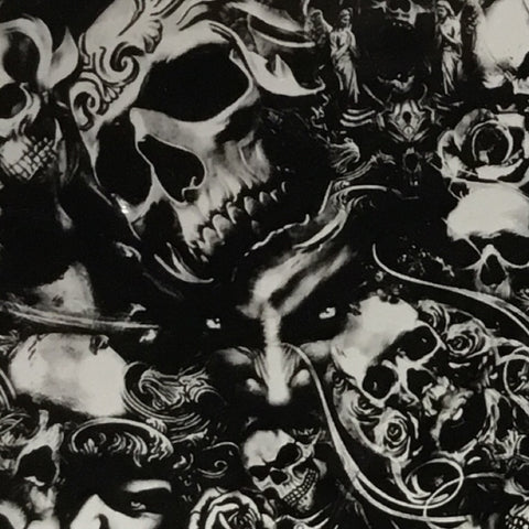 ROSE FROM THE DEAD SKULLS HYDROGRAPHIC FILM BLACK AND CLEAR