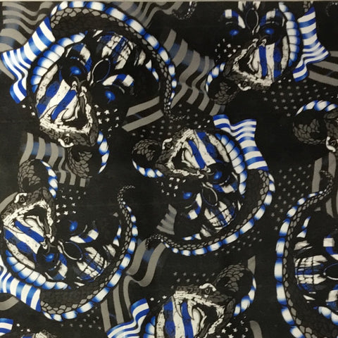 BLUE METALLIC SNAKE FLAG SKULLS