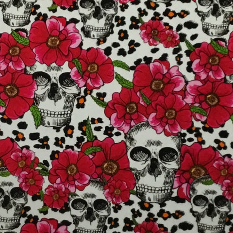 RED FLOWER CHEETAH SKULLS
