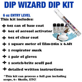 DIP WIZARD HYDROGRAPHIC DIP KIT LARGE BLACK/CLEAR FLAMING DICE SKULLS