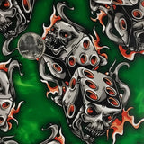 GREEN/ORANGE FLAMING DICE SKULLS
