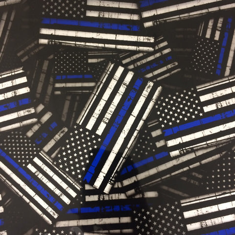 LARGE THIN BLUE LINE FLAGS POLICE AMERICAN HYDROGRAPHIC FILM