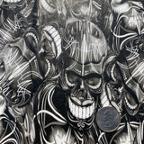 PINSTRIPE SKULLS black and clear HYDROGRAPHIC FILM