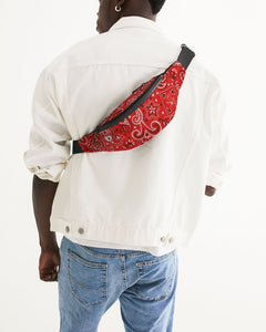 Red Paisley Crossbody Sling Bag