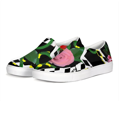 Pink Floral Slip-On Canvas Shoe