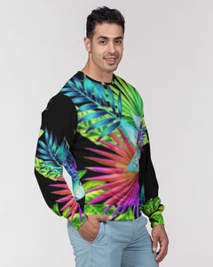 Neon Floral Men's Classic French Terry Crewneck Pullover