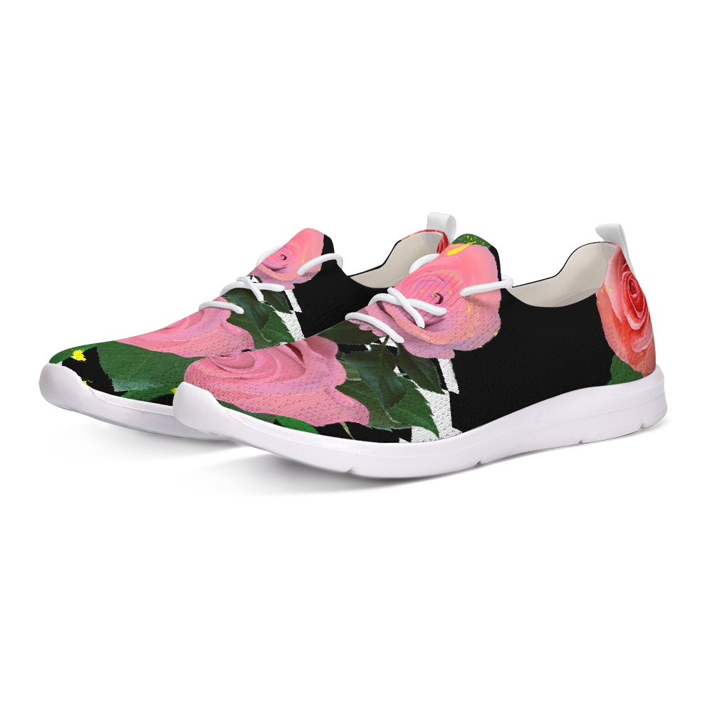 Ladies Pink Floral Lace Up Flyknit Shoe