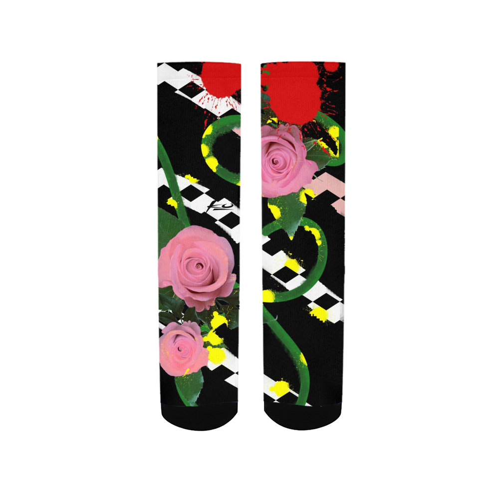 Pink Floral Women's Socks