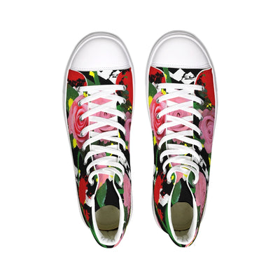 Pink Floral Hightop Canvas Shoe
