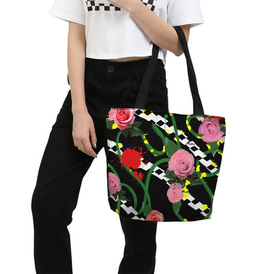 Pink Floral Canvas Zip Tote