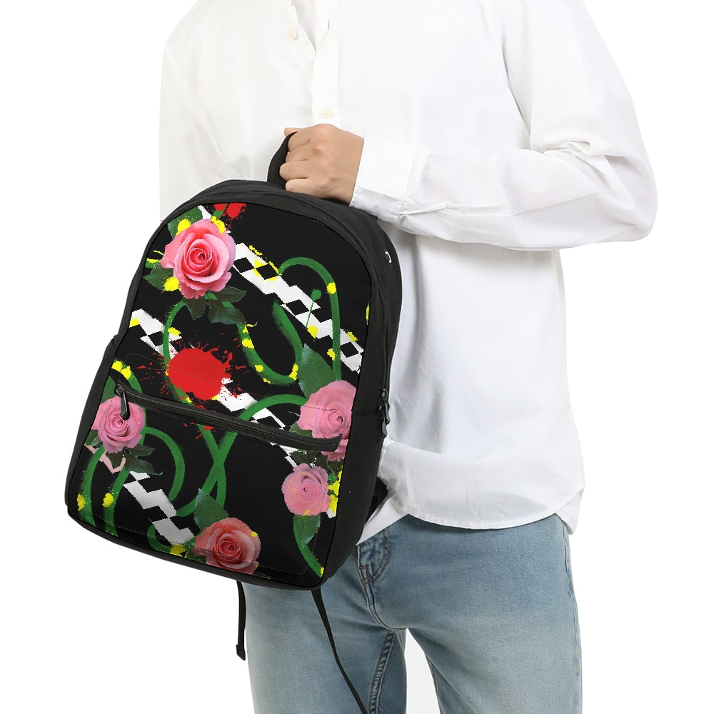 Pink Floral Small Canvas Backpack