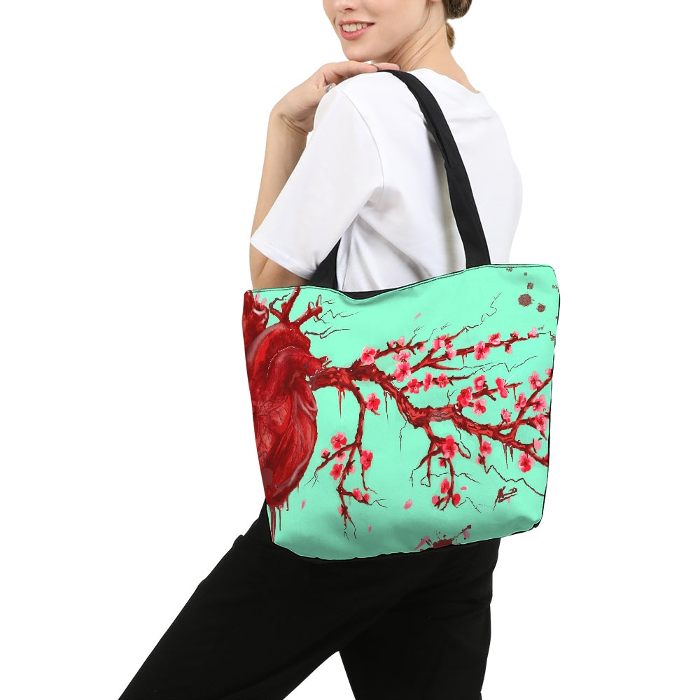 Heart Blossom Canvas Zip Tote Bag
